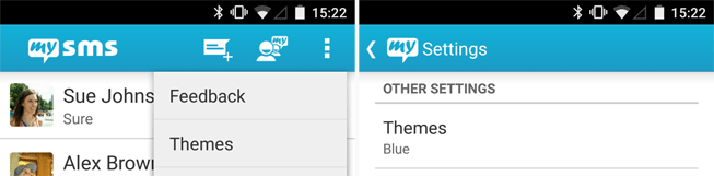 Access the themes via the menu or the settings